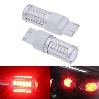 2x T20 6500K Red 7440 7443 5630 33SMD LED Car Backup Reverse Lights Bulb