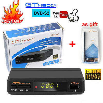 GTMEDIA V7S Digital HD Satellite TV Receiver Full 1080P DVB-S2 Top Box+USB WIFI