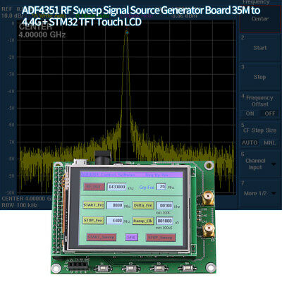 RF Sweep Signal Source Generator Board 35M to 4.4G + STM32 TFT Touch LCD Green