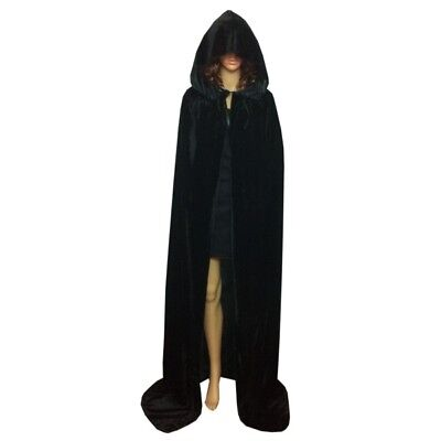 Adult Velvet Hooded Cloak Cape Medieval Pagan Witch Wicca Vampire Halloween US