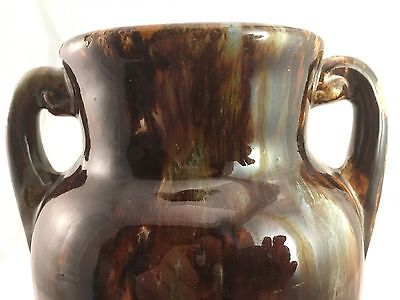 "1930s Brush McCoy Onyx Double Handled 8"" Vase American Art Pottery Brown Drip"