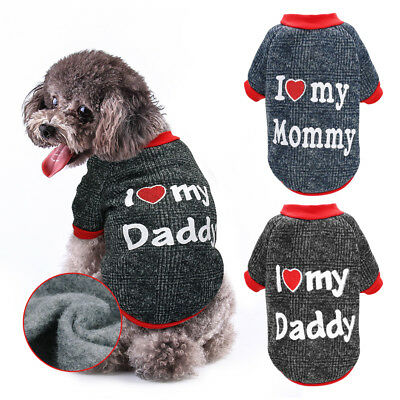 I Love Mummy Daddy Dog Sweater Chihuahua Clothes Pet Puppy Jumper Padded Coat