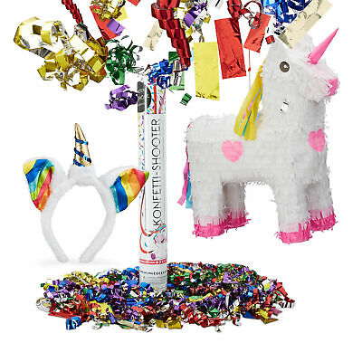 3 tlg. Einhorn Set, Pinata, Haarreif Unicorn, Party Popper 40 cm Einhornglitter