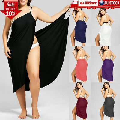 AU Women Swimwear Scarf Beach Cover Up Wrap Sarong Sling Skirt Dress Plus Size