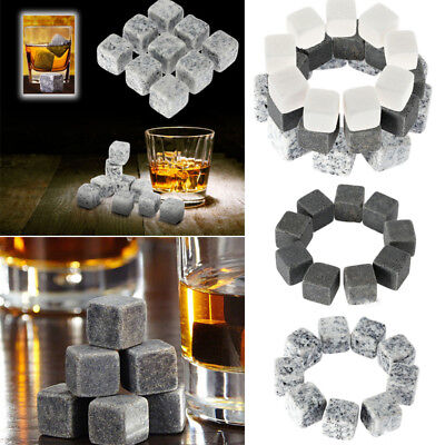 9PCS Whisky Ice Stone Cooler Cube Scotch Soapstone Glacier Rock for Drink Wine Y