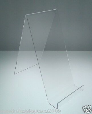 BOOK DISPLAY STANDS WITH LIP CLEAR ACRYLIC HOLDER LARGE CLEAR PERSPEX x 5