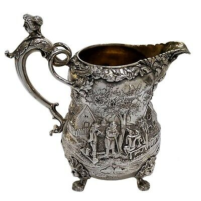 Magnificent Quality Victorian Solid Silver Jug, Teniers Style, Richard Sibley Ii
