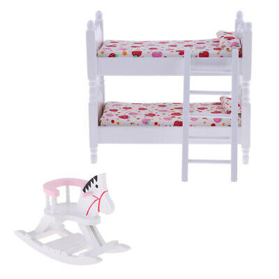European 1/12 Dollhouse Miniature Furniture Children Bunk Bed &Rocking Horse