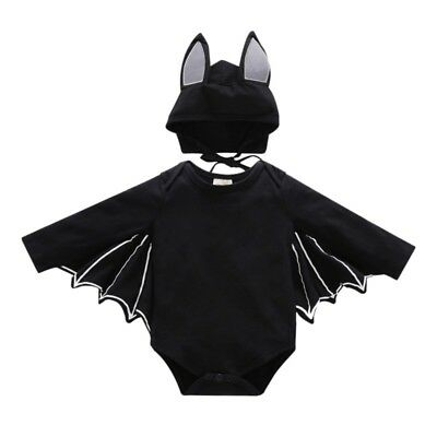 Baby Girl Boy Halloween Clothes Black Bat Costume Cloak Romper with Hat Outfit