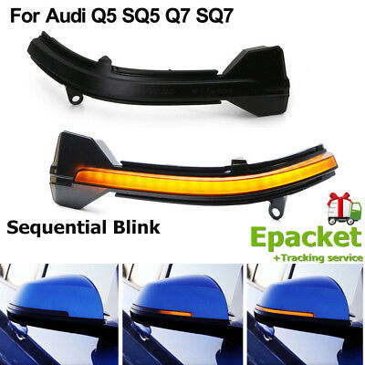 Smoked Side Mirror Sequential Blink Turn Signal Light For Audi Q5 SQ5 Q7 SQ7 CL