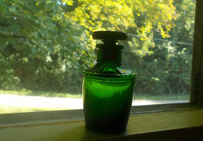 Pretty Emerald Green 1890 Perfume Bottle W/original Flower & Greek Key Stopper