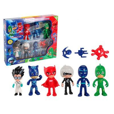 6 PCS Masked Pajama Man + 3 PCS Weapons Cartoon PJ Masks Toys Doll Set