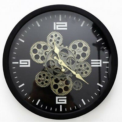 New Black Gear Style Clock Office Desk Home Decoration Retro Wall Gift Time
