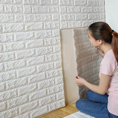 10pc PE Foam 3D Wallpaper DIY Wall Stickers Wall Decor Embossed Brick Stone 60cm