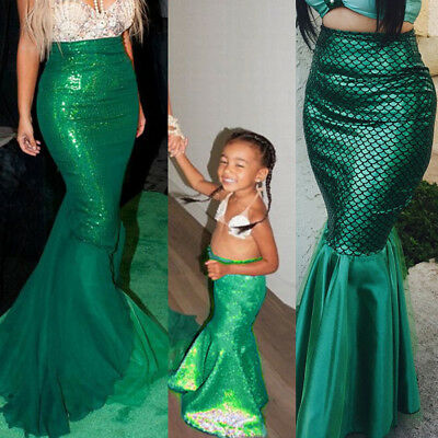 Women Kid Girl Ariel Little Mermaid Cosplay Costume Fish Tail Skirt Fancy Dress