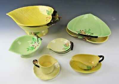 Lot of 10 Carltonware Green and yellow APPLE BLOSSOM Serving pieces