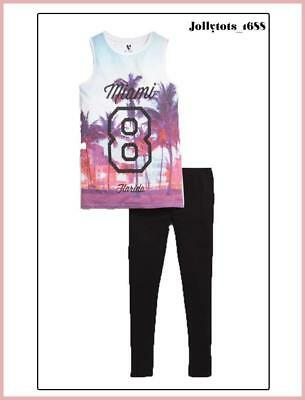 New V By Very Girls Side Split Vest Top & Leggings Set In Multi Size 7-14 Years