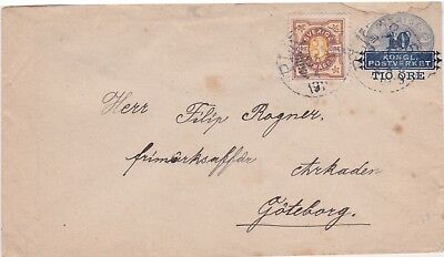 Sweden-1913 Uprated 10:12 ore blue PS letter to 13 ore on Railway TPO cover