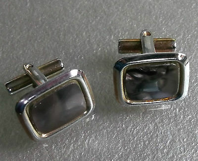 Cufflinks Vintage Mens Cuff Links 1960s 1970s METAL DUSKY MARBLED BURGUNDY INSET