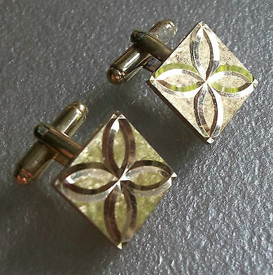 Cufflinks Vintage Mens Cuff Links 1960s 1970s METAL MOD PSYCHEDELIC SQUARE