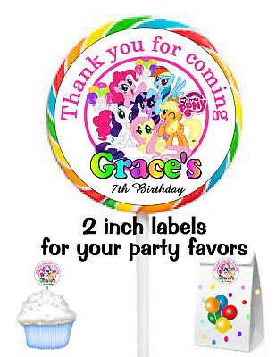 20 My Little Pony Birthday Party Favors Lollipop Stickers Labels Tags 2 In Each