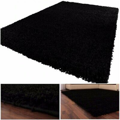 Black Shaggy Area Rug Long Pile Large Solid Soft Thick Cosy Living Room Mat
