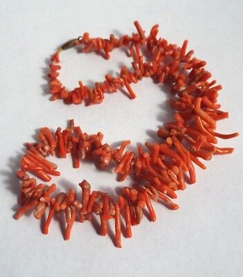 Antique natural salmon coral bead necklace- nice antique barrel clasp- choker