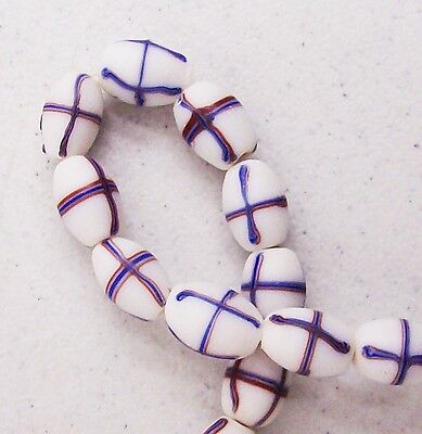 French Cross Trails White Trade Beads  Antique Original  T512  RT