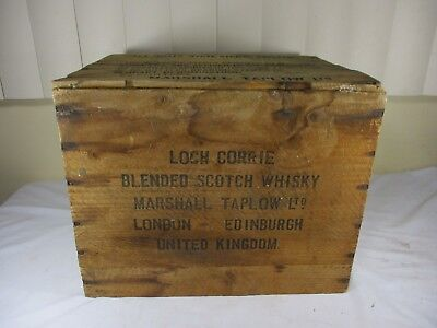 Vtg LOCH CORRIE SCOTCH WHISKY Wooden Shipping Crate Advertising UNITED KINGDOM