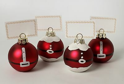 Christmas Place Card Holders Set of 4 New in Box Glass Santa Balls