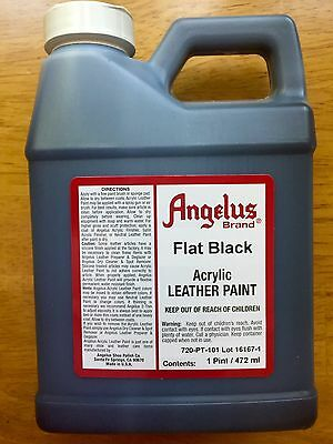 Angelus Flat Black acrylic leather paint 16 oz/ 1 Pint