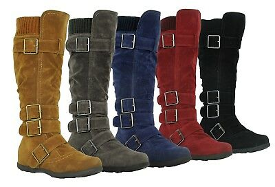 New Womens Knee High Mid Calf Boots Ruched Suede Slouch Knitted Calf Buckle