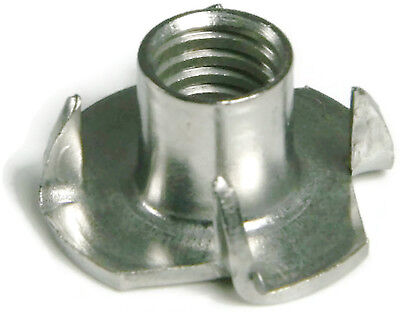 Tee Nut Stainless Steel T Nuts 3 & 4 Prong Barrel Nuts - All Sizes - QTY 100