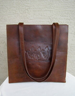 2300b988fb5 MCFADIN TWO BAR WEST Distressed Leather RUNNING HORSES Tote Bag Purse Brown  RARE