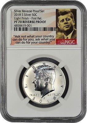 2018 S Silver Kennedy 50C REVERSE PROOF LIGHT FINISH NGC PF70 FR Portrait