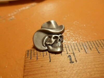 Pewter Cowboy Skull in Cowboy Hat  Lapel Pin New Stock