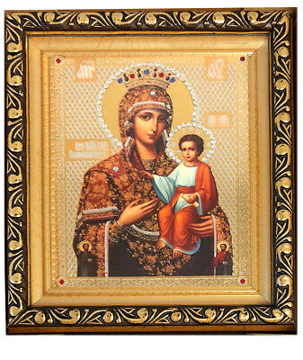 Gold Framed Russian Icon Madonna and Child Crowned Mary Jeweled Icon 6 1/4 Inch