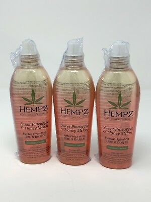 Hempz Sweet Pineapple and Honey Melon Herbal Hydrating Bath and Body Oil 3 Pack