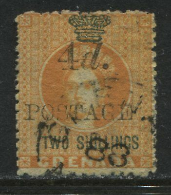 Grenada QV 1888 2/ overprinted 4d Postage CDS used