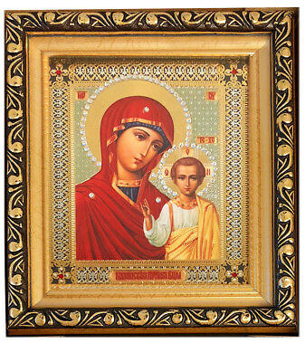 Madonna and Child Jeweled Virgin of Kazan Gold Framed Russian Orthodox Icon 6""