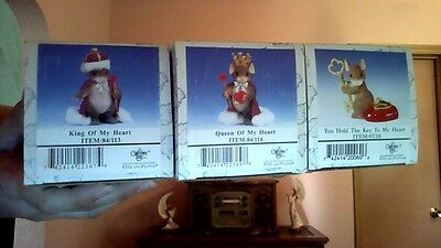 Lot of 3 Charming Tails Heart Themed Figurines 1Signed 2 NIB