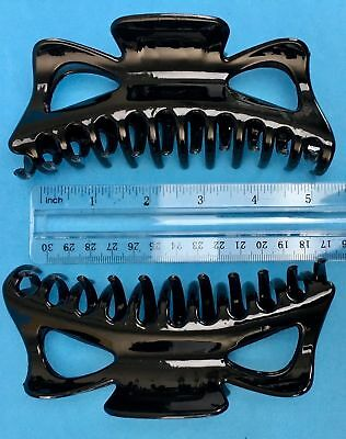 BLACK Extra Large Hair Jaw Clip Claw Clamp 5 1/2 inches 2 Pack