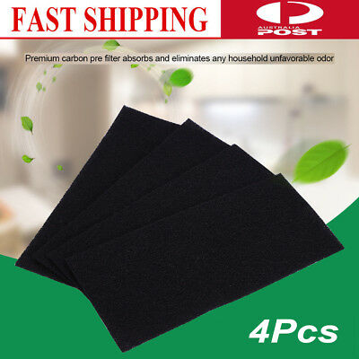 4x Universal Black Activated Carbon Foam Sponge Air Impregnated Sheet Filter Pad