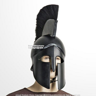 Black Wearable Greek Corinthian Spartan Battle Helmet w/ Plume Linear 20G Steel