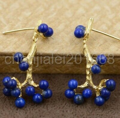 Beautiful unique TREE shape stud earrings 925 sterling silver with lapis lazuli