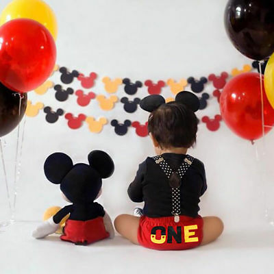 880eb8f99 Mickey Mouse Baby Boy 1st Birthday Cake Smash Costume Suspenders Outfits  Photo