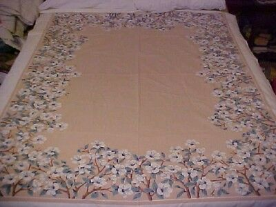 Vintage Tablecloth w/ Border of White Hibiscus, Tan Center