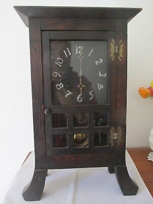Antique Liberty Style Arts and Crafts Clock Working Well