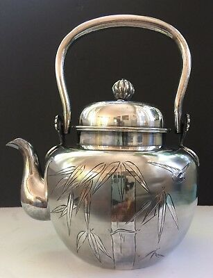 Gorgeous Japanese Sterling Silver Teapot W/ Engraved Detail