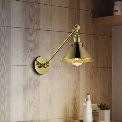 Industrial Swing Arm Wall Sconce Lamp Light Antique Brass Adjustable Fixture
